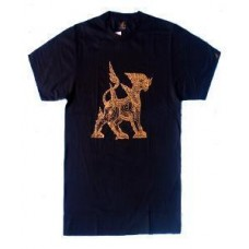 เสื้อยืดแฟชั่นลายไทย สกรีนลายตัวสิงห์ เสื้อสีดำแขนสั้นคอกลม ผ้าคอตต้อน100 สกรีนสีทอง