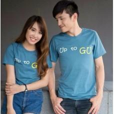 เสื้อยืดแฟชั่น สกรีนคำว่า Up to Gu ผ้าคอตต้อน คอกลม แขนสั้น สีฟ้าเทา ไซส์ S-XXL