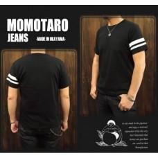 เสื้อยืด MOMOTARO JEANS สีดำ รุ่น MT301 มีป้ายชายเสื้อ และสกรีนที่คอ ด้านหลังไม่มีลาย ตามของแท้เป๊ะๆ
